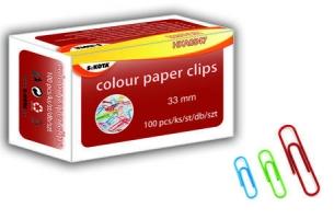 Barevné kancelářské sponky Sakota - 33 mm, mix barev, 100 ks