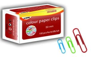 Barevné kancelářské sponky Sakota - 50 mm, mix barev, 100 ks