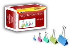 Kancelářský binder klip - 32 mm, mix barev, 12 ks