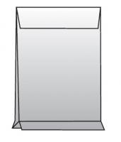 Poštovní taška B4 - křížové dno, bez okénka, krycí páska, 353x250x40 mm, sulfát bílá, 250 ks