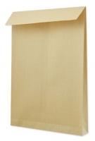 Poštovní taška B4 - vyztužená, křížové dno, bez okénka, krycí páska, 353x250x40 mm, hnědá, 1 ks