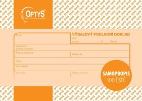 Výdajový pokladní doklad Optys - propisující, A6, 100 listů