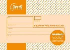 Příjmový pokladní doklad Optys - propisující, A6, 3x25 listů