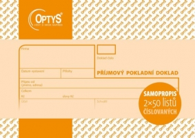 Příjmový pokladní doklad se stvrzenkou Optys - číslovaný, propisující, A6, 2x50 listů