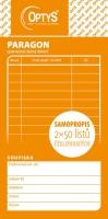 Paragon-Daňový doklad Optys - číslovaný, propisující, 75x150 mm, 2x50 listů