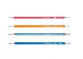 Grafitová tužka Deli Think EU50000 - s gumou, HB, trojhranná, mix barev