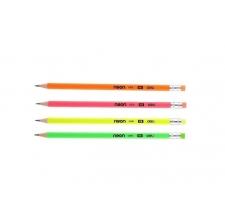 Grafitová tužka Deli Neon EU51600 - s gumou, HB, trojhranná, mix barev - DOPRODEJ