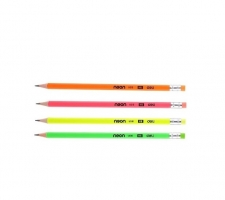Grafitová tužka Deli Neon EU51600 - s gumou, HB, trojhranná, mix barev