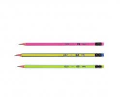 Grafitová tužka Deli Pop EU52400 - s gumou, HB, trojhranná, mix barev - DOPRODEJ